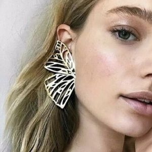 Jewelry - Gold Butterfly Wing Earrings